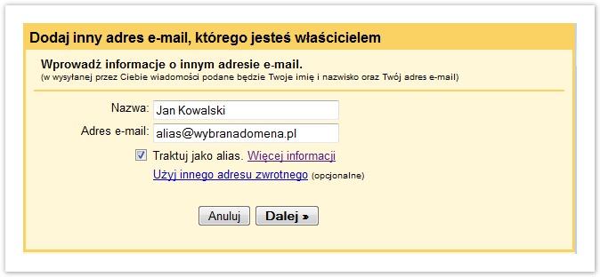 dodawanie adresu e-mail gmail