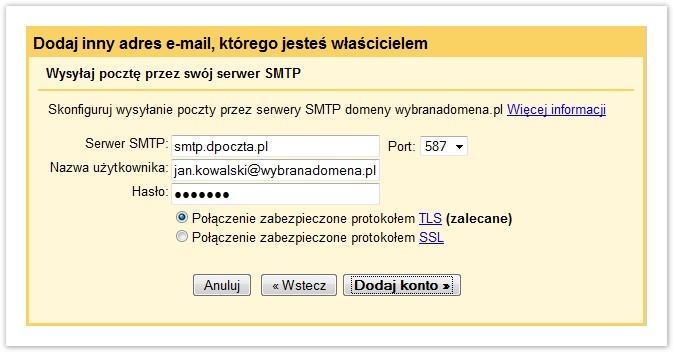 dodaj inny adres gmail