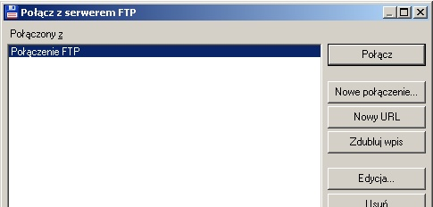 połącz z serwerem ftp