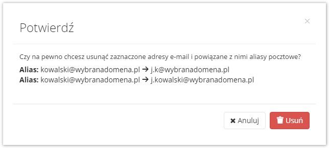 usuwanie aliasu pocztowego