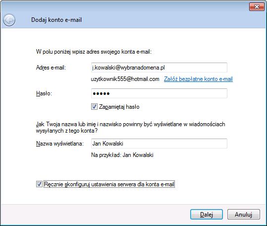 dodaj konto e-mail